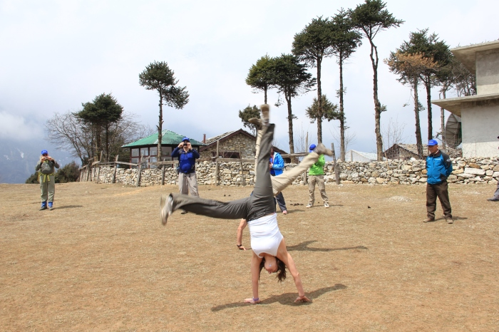 Cartwheeling above Namche