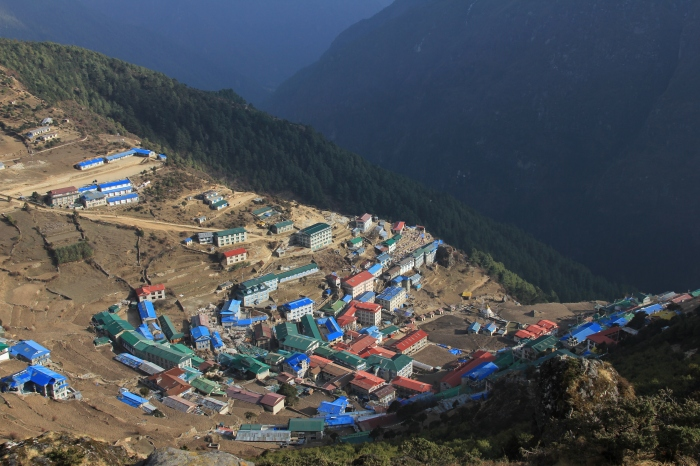 Hiking back down into Namche Bazar