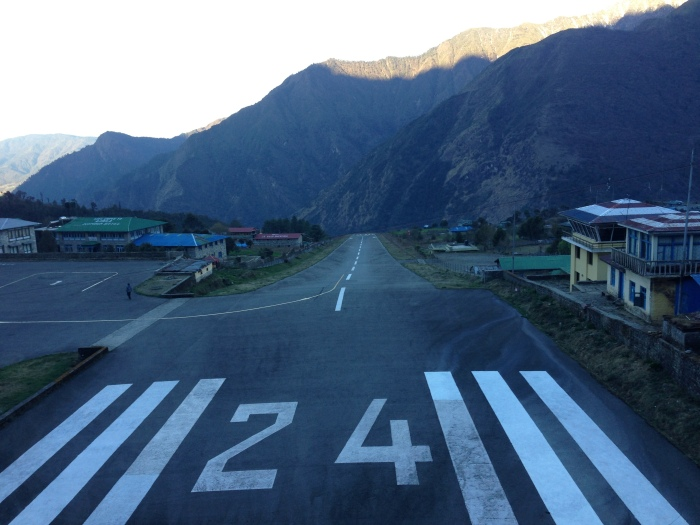 The one and only Lukla Runway is so short, the planes dip down before they lift up