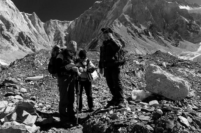 Calling for heli rescue trekking to Gorakshep, photo by Jim Schultz