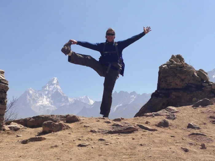 Jim's morning yoga pose in the Khumbu