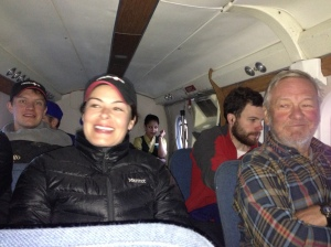 Inside the cabin, heading back to Kathmandu