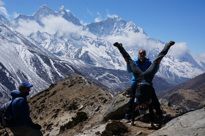 Acclimatization hiking and handstanding above Pheriche