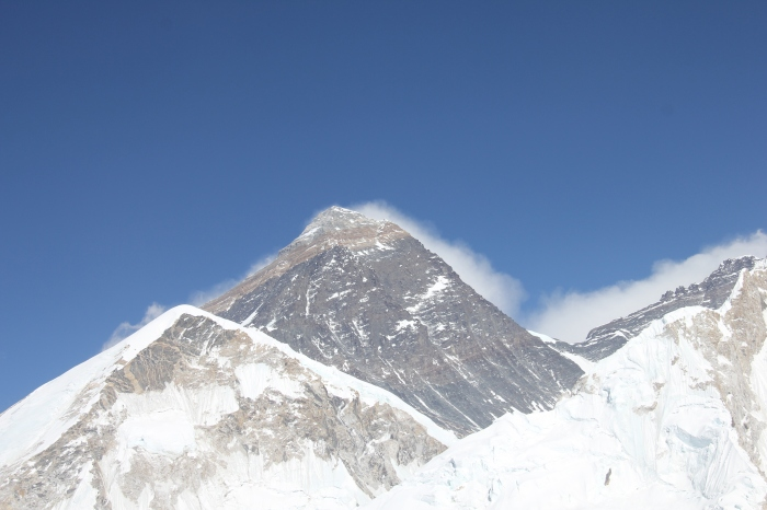 Mt. Everest (8.848 meters or 29,029 feet). The world's highest mountain as seen from Kalapatthar