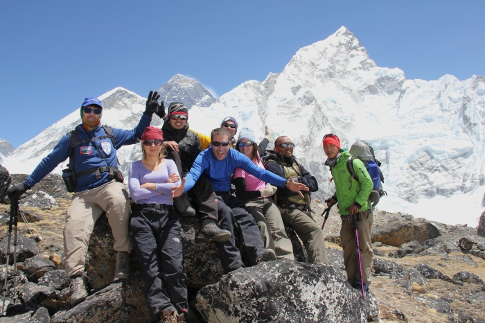 The group atop Kalapatthar with Chris, Alena, Pranav, Clay, Jim, Glen and Nima Dorji