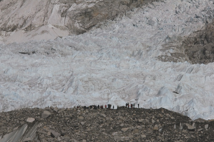 Khumbu Icefall with perspective. Those are people standing in front of the ice spires