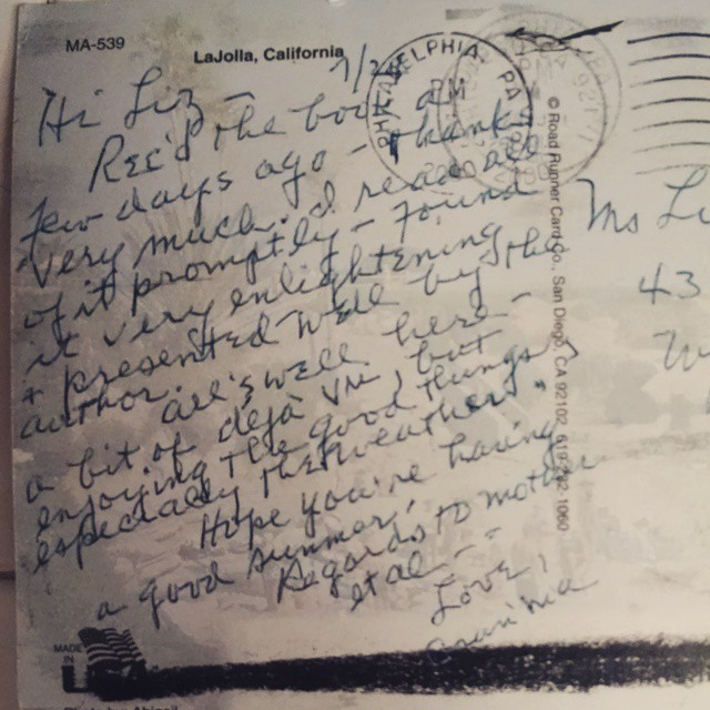 "Grandma's TY postcard to me after getting ""the book"""