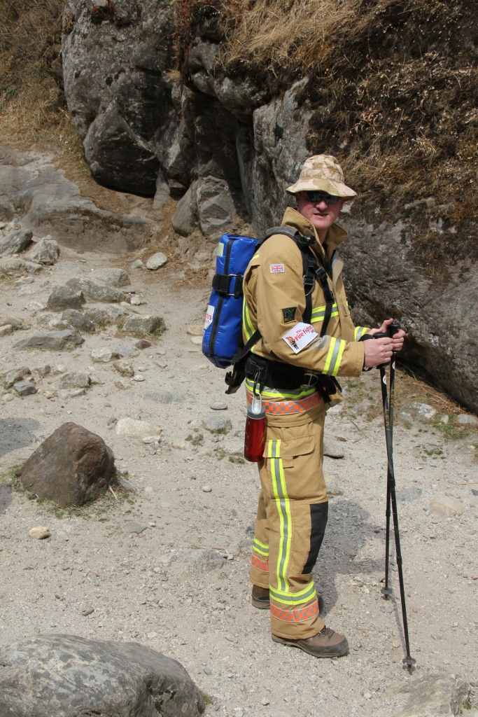 UK Firefighter trekking about